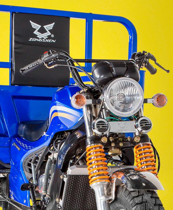 zongshen-motocicleta-furgón 250-parte-delantera-azul